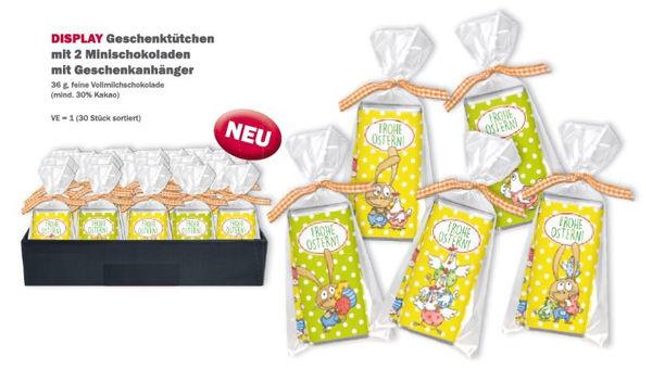 """Bild von DISPLAY Geschenktütchen mit 2 Minischokoladen und Geschenkanhänger """"Frohe Ostern"""""""