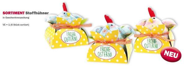 """Bild von Stoffhühner """"Frohe Ostern"""""""