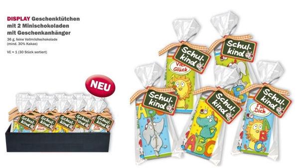 """Bild von DISPLAY Geschenktütchen mit 2 Minischokoladen und Geschenkanhänger """"Zum Schulanfang"""""""