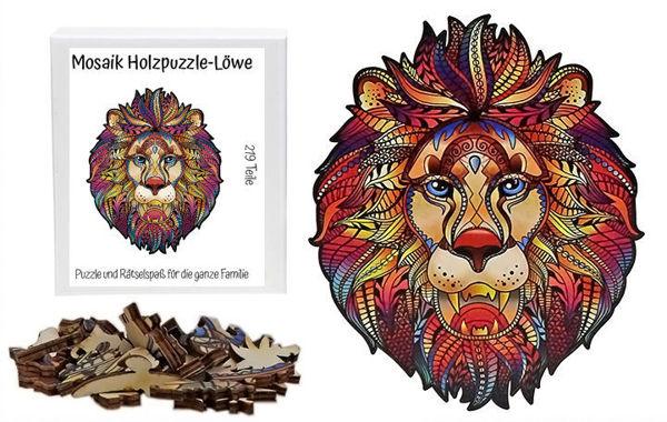 Bild von Mosaik Holzpuzzle Löwe