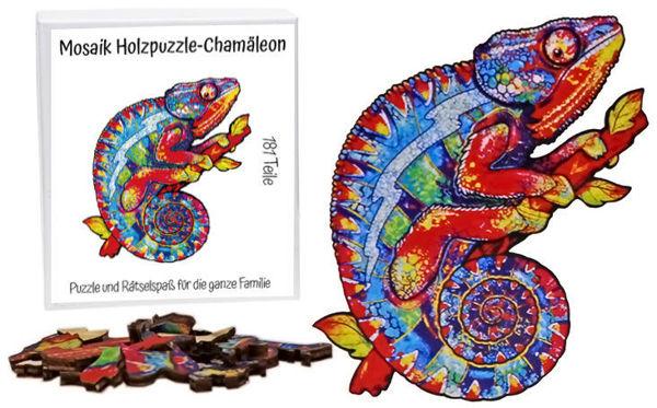 Bild von Mosaik Holzpuzzle Chamäleon