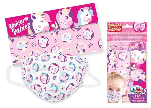 Bild von 5er Set Einweg-Kindermaske, Unicorn Babies